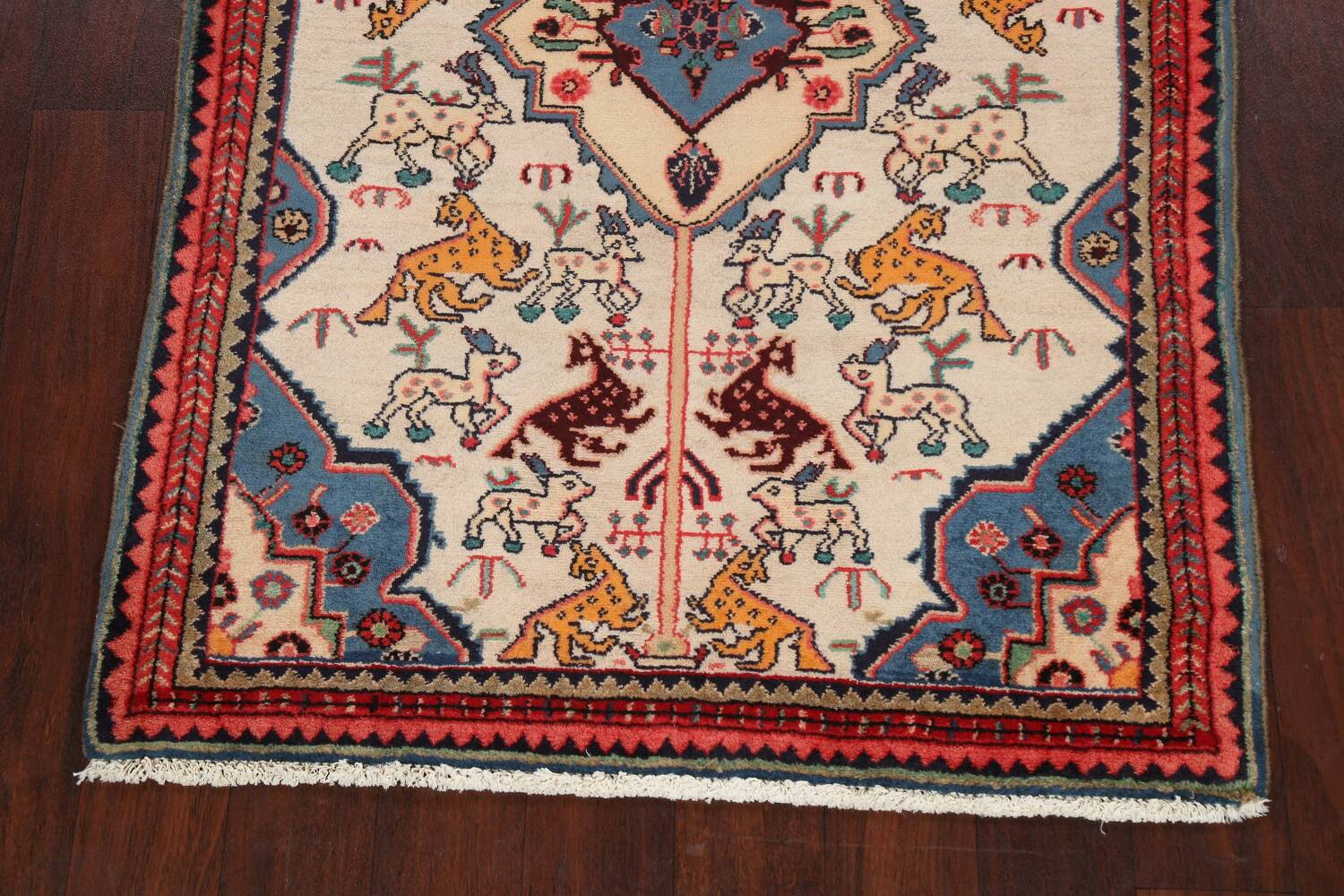 Animal Pictorial Vegetable Dye Senneh Persian Area Rug 3x5 image 8