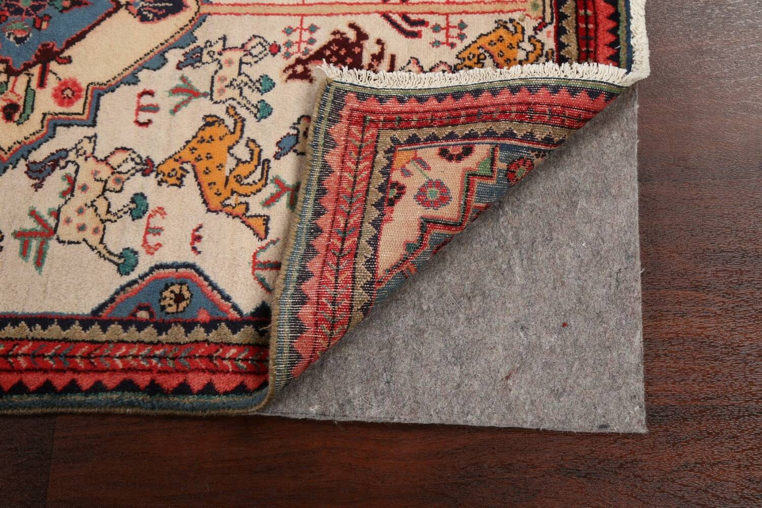 Animal Pictorial Vegetable Dye Senneh Persian Area Rug 3x5 image 7