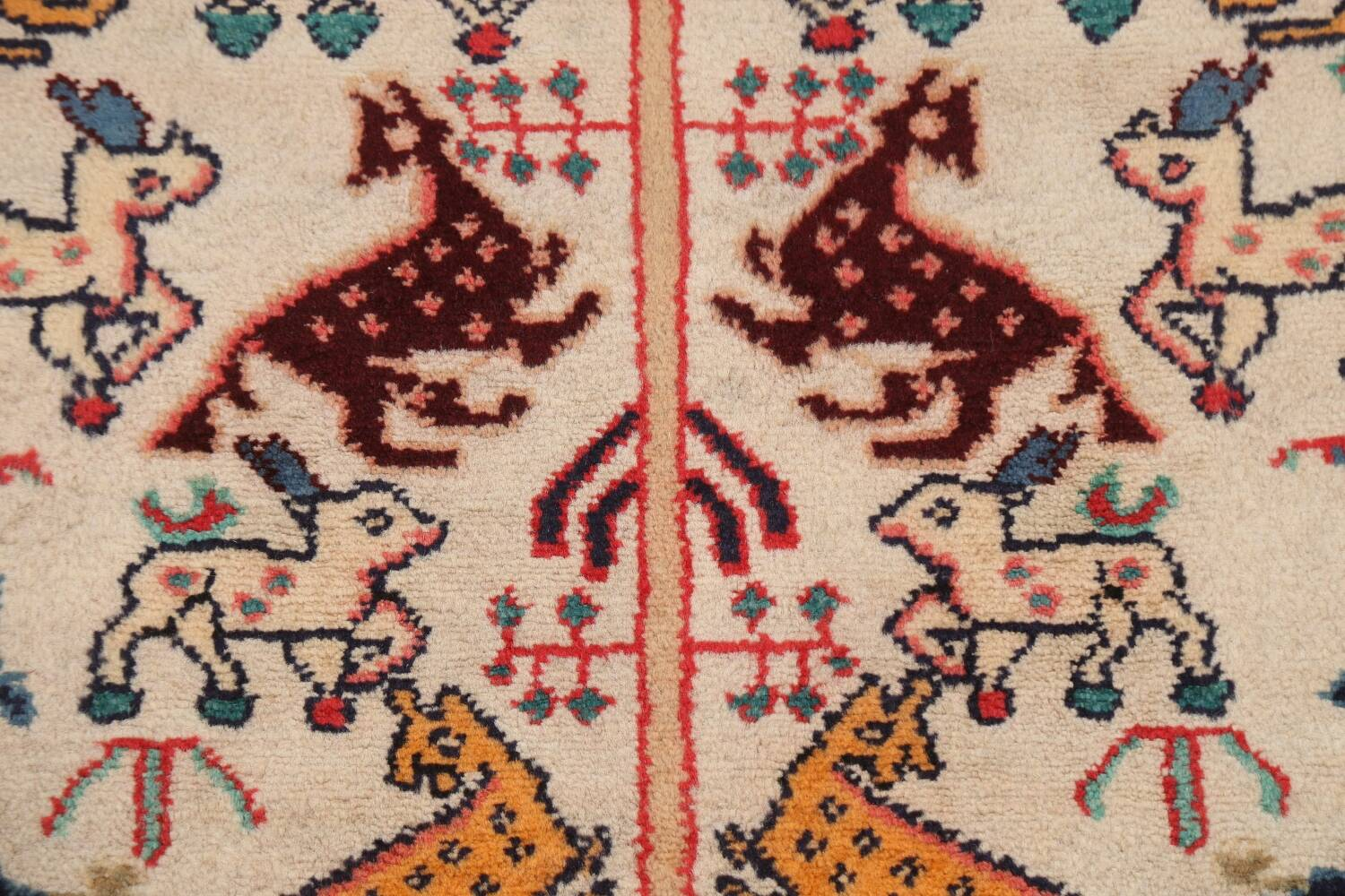 Animal Pictorial Vegetable Dye Senneh Persian Area Rug 3x5 image 9