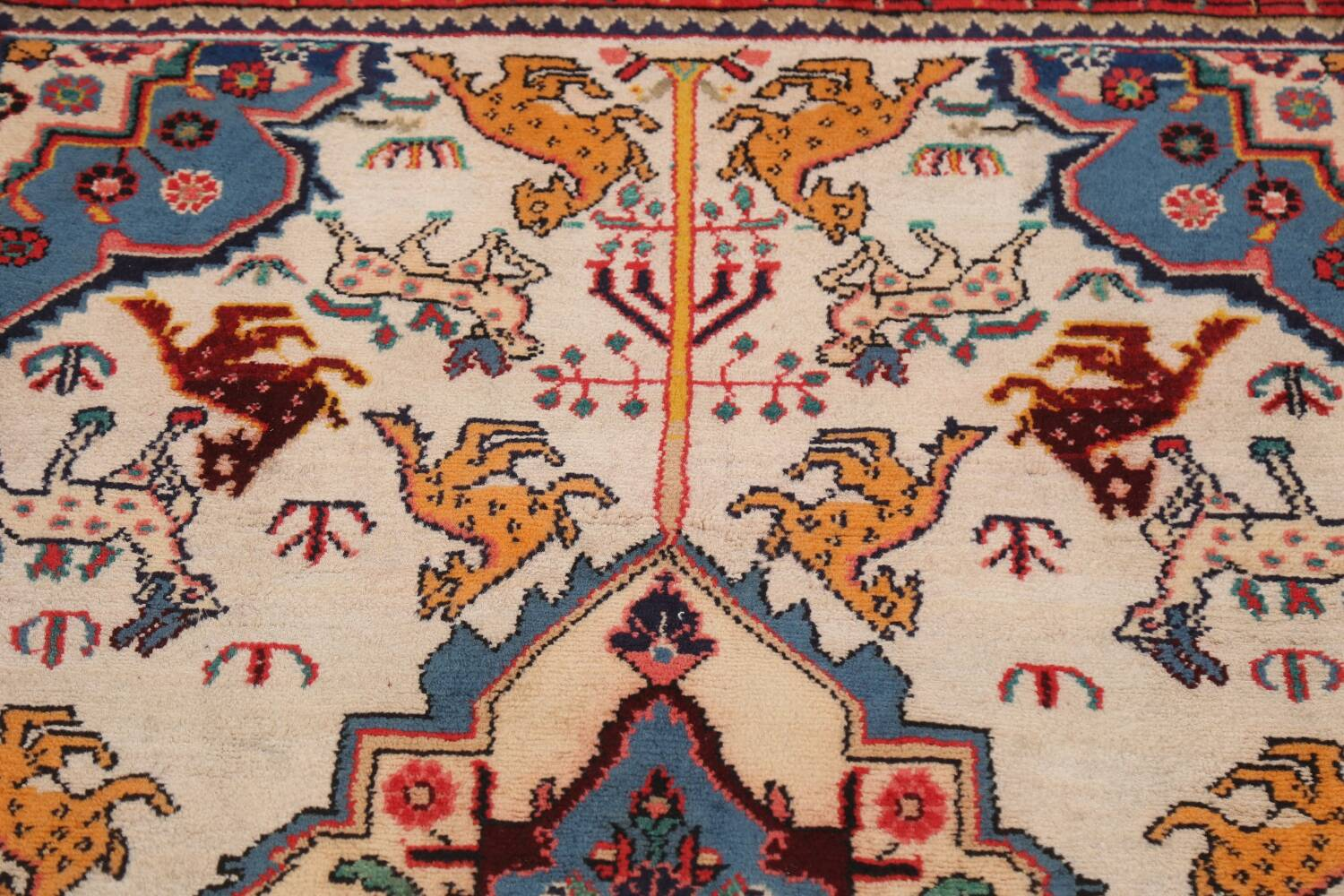 Animal Pictorial Vegetable Dye Senneh Persian Area Rug 3x5 image 10