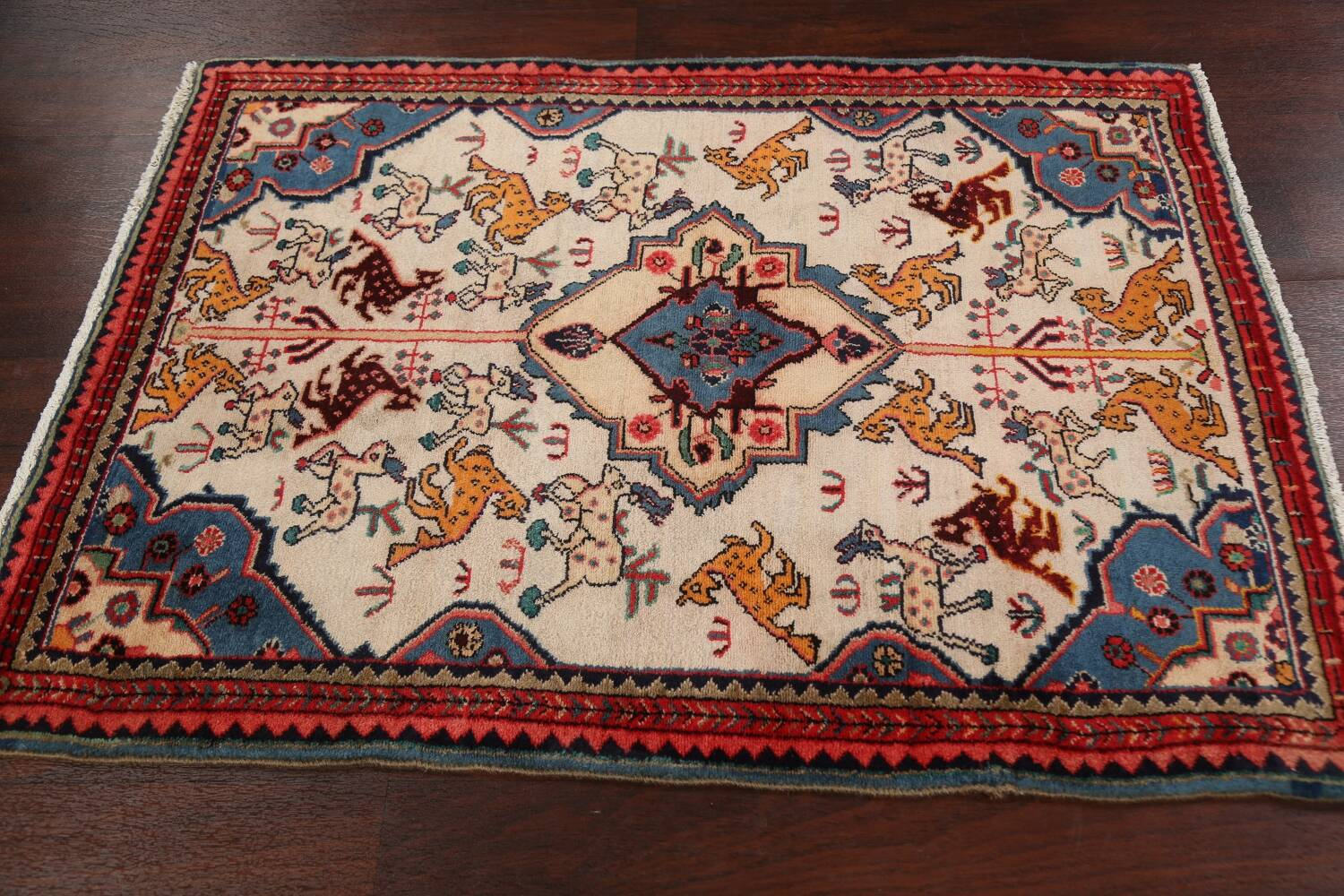 Animal Pictorial Vegetable Dye Senneh Persian Area Rug 3x5 image 13