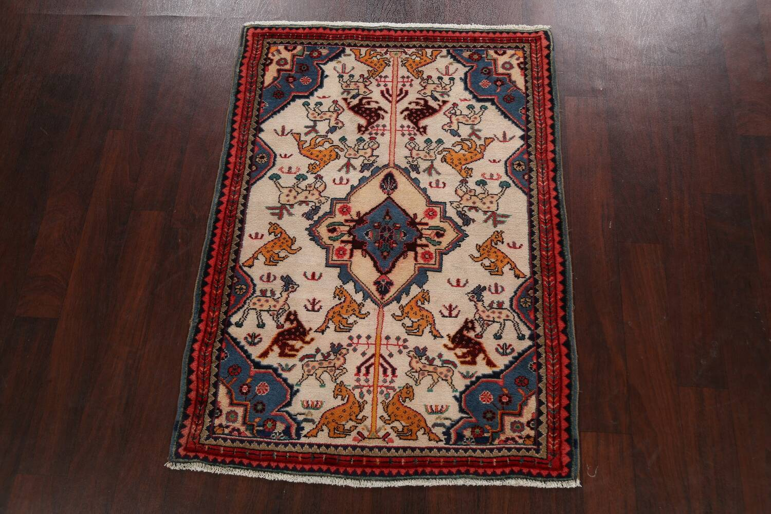 Animal Pictorial Vegetable Dye Senneh Persian Area Rug 3x5 image 14