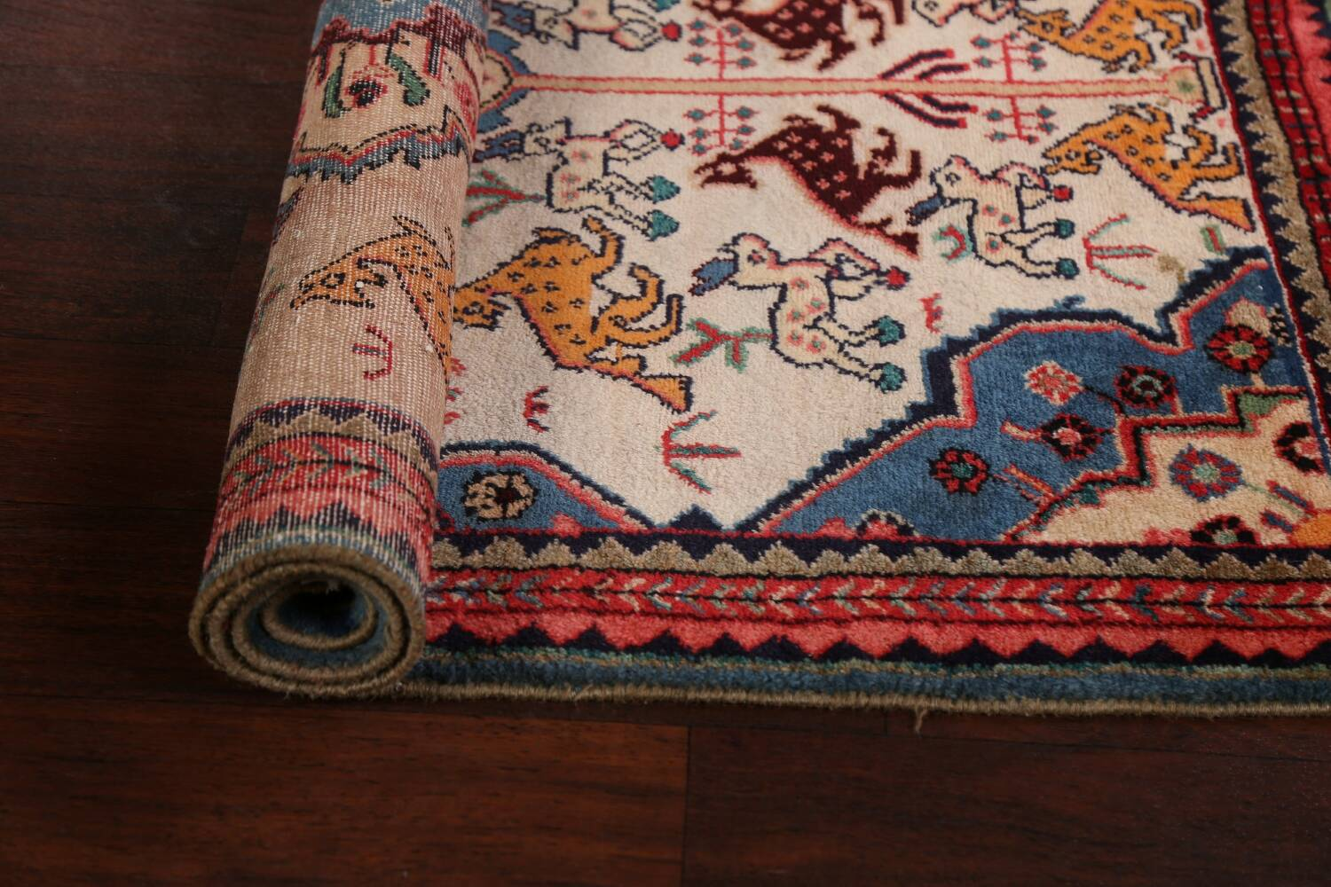 Animal Pictorial Vegetable Dye Senneh Persian Area Rug 3x5 image 15