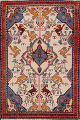 Animal Pictorial Vegetable Dye Senneh Persian Area Rug 3x5 image 1