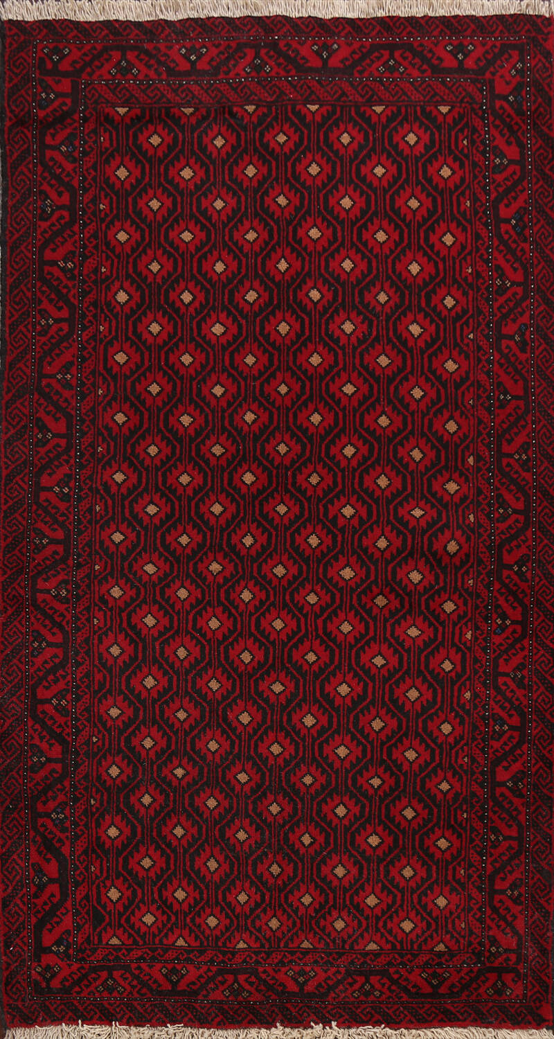 All-Over Geometric Balouch Afghan Oriental Area Rug 4x7 image 1