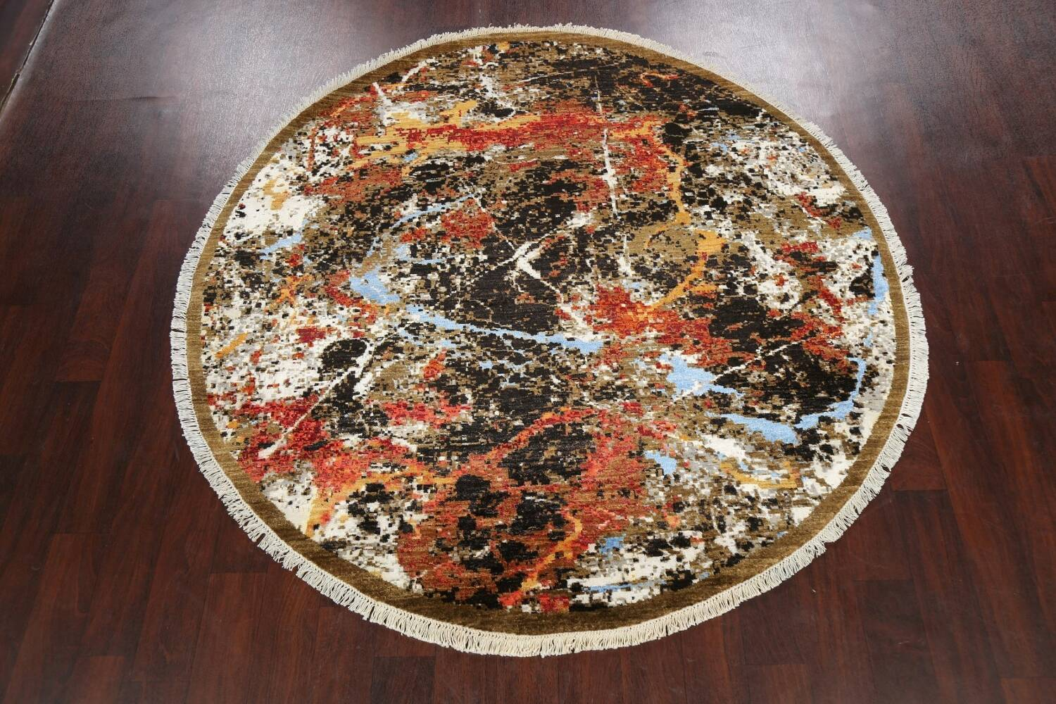 Round Vegetable Dye Modern Abstract Oriental Area Rug 6x6 image 2
