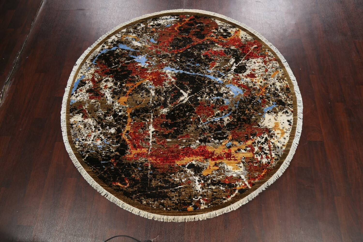 Round Vegetable Dye Modern Abstract Oriental Area Rug 6x6 image 11