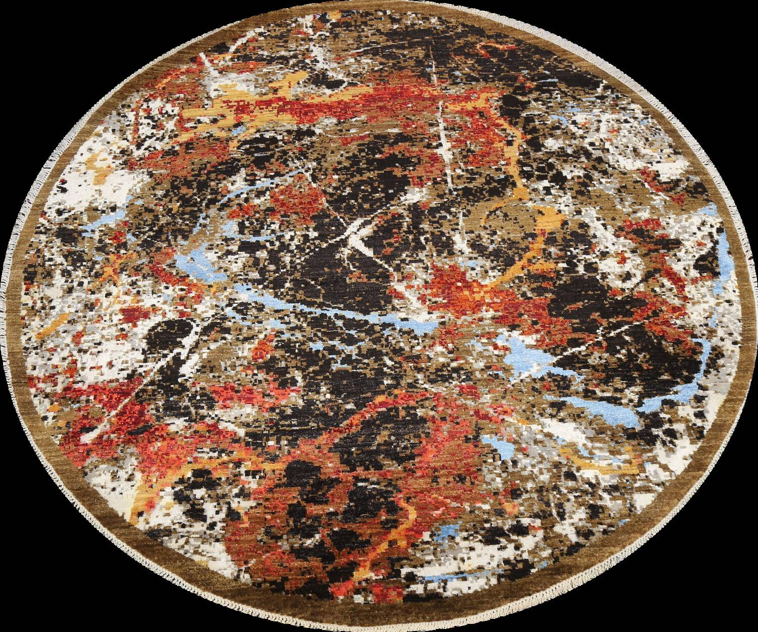 Round Vegetable Dye Modern Abstract Oriental Area Rug 6x6 image 1