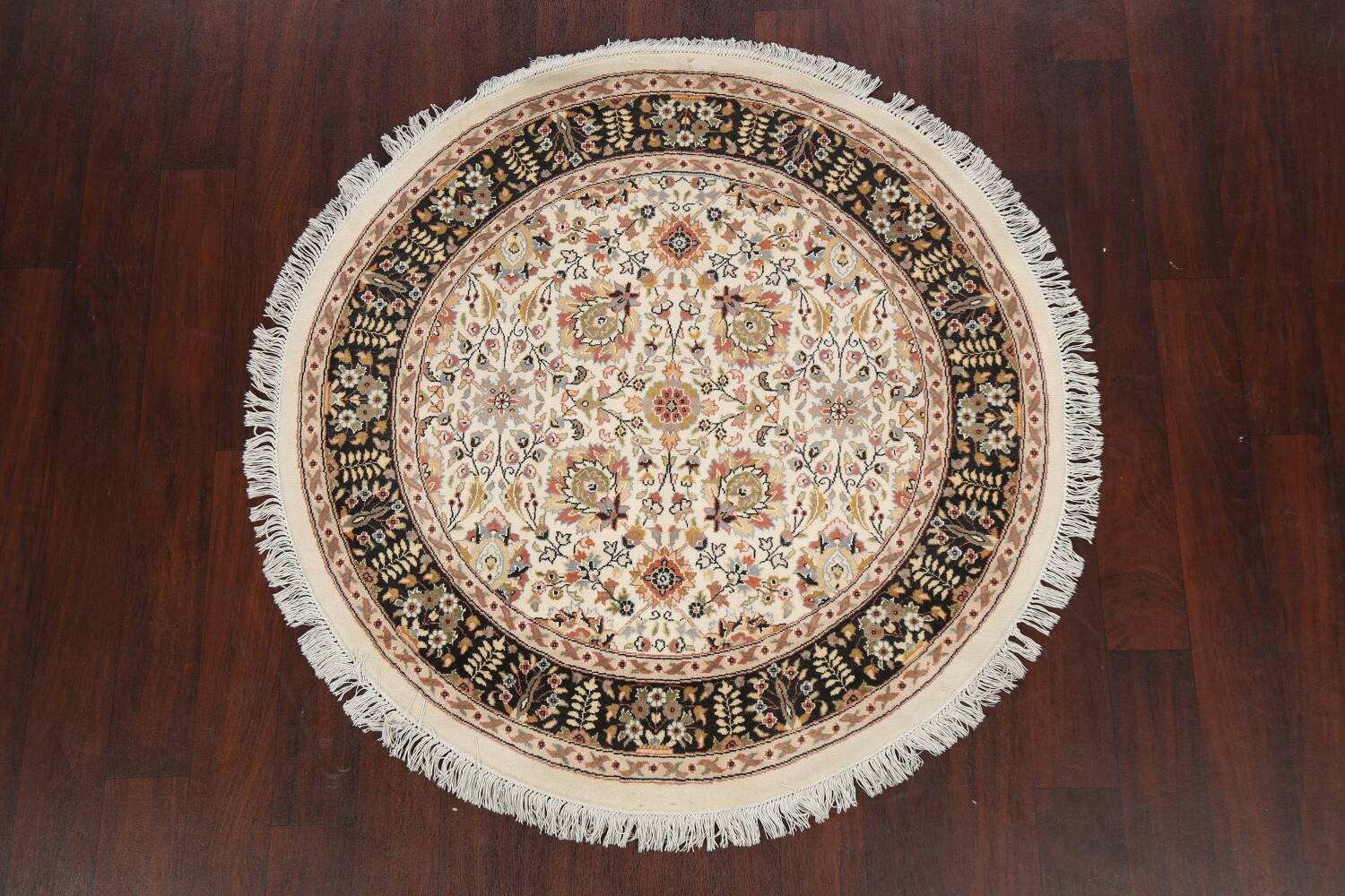 Vegetable Dye Round Royal Tabriz Oriental Area Rug 4x4 image 2