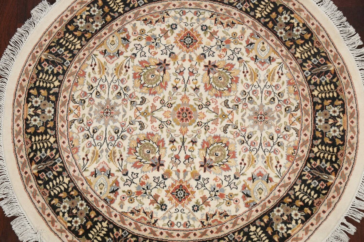 Vegetable Dye Round Royal Tabriz Oriental Area Rug 4x4 image 3