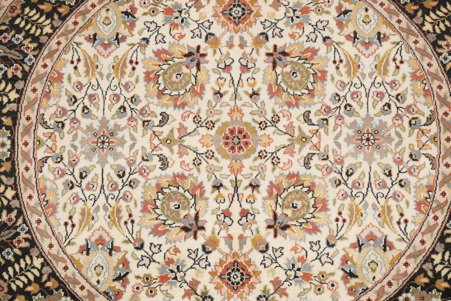 Vegetable Dye Round Royal Tabriz Oriental Area Rug 4x4 image 4