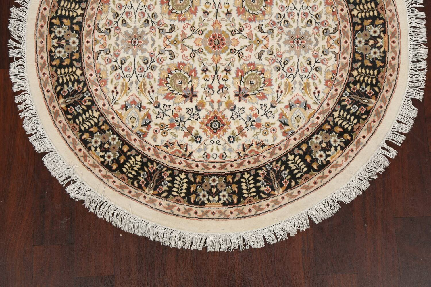 Vegetable Dye Round Royal Tabriz Oriental Area Rug 4x4 image 8