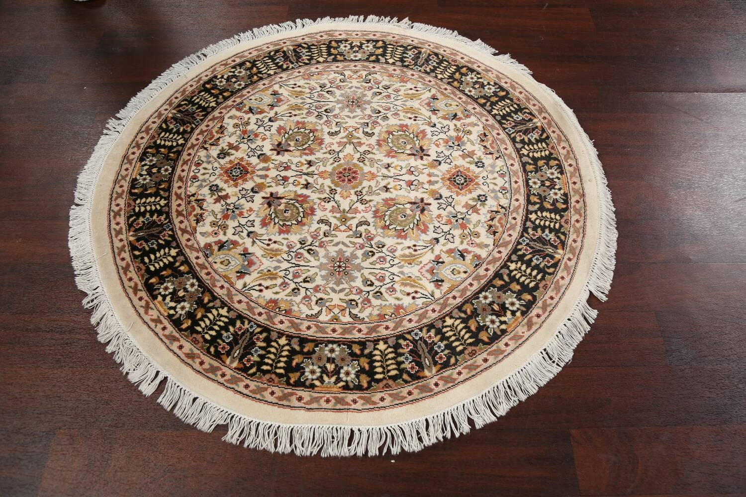 Vegetable Dye Round Royal Tabriz Oriental Area Rug 4x4 image 10