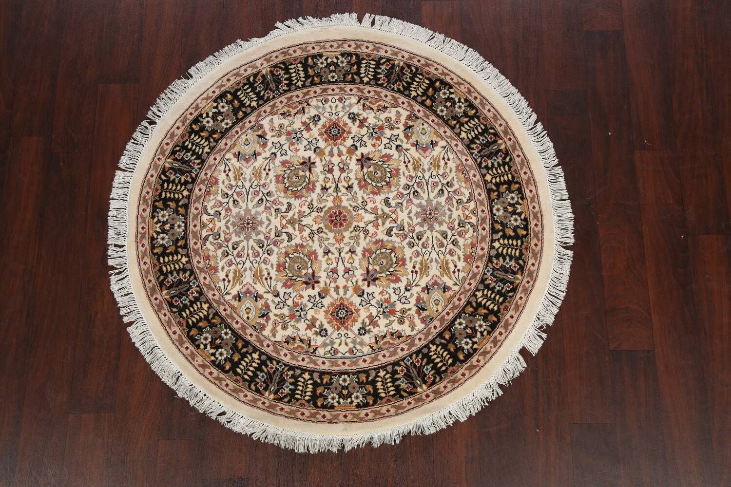 Vegetable Dye Round Royal Tabriz Oriental Area Rug 4x4 image 11