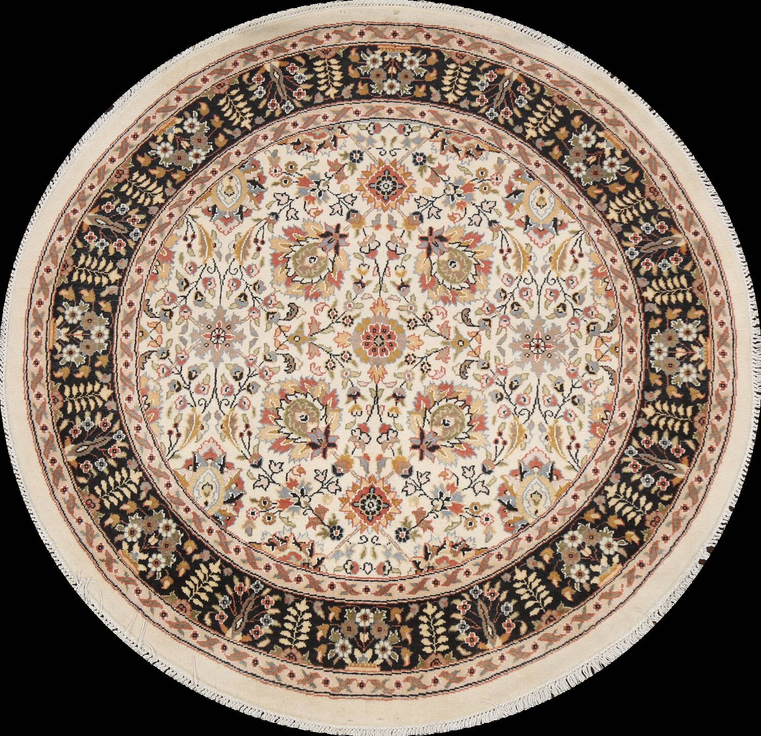 Vegetable Dye Round Royal Tabriz Oriental Area Rug 4x4 image 1