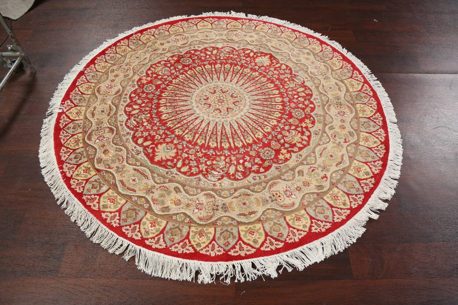 Vegetable Dye Round Royal Tabriz Oriental Area Rug 5x5 image 10