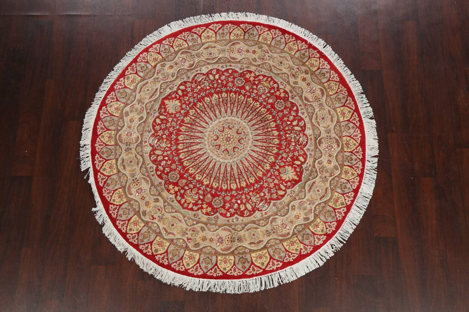 Vegetable Dye Round Royal Tabriz Oriental Area Rug 5x5 image 11