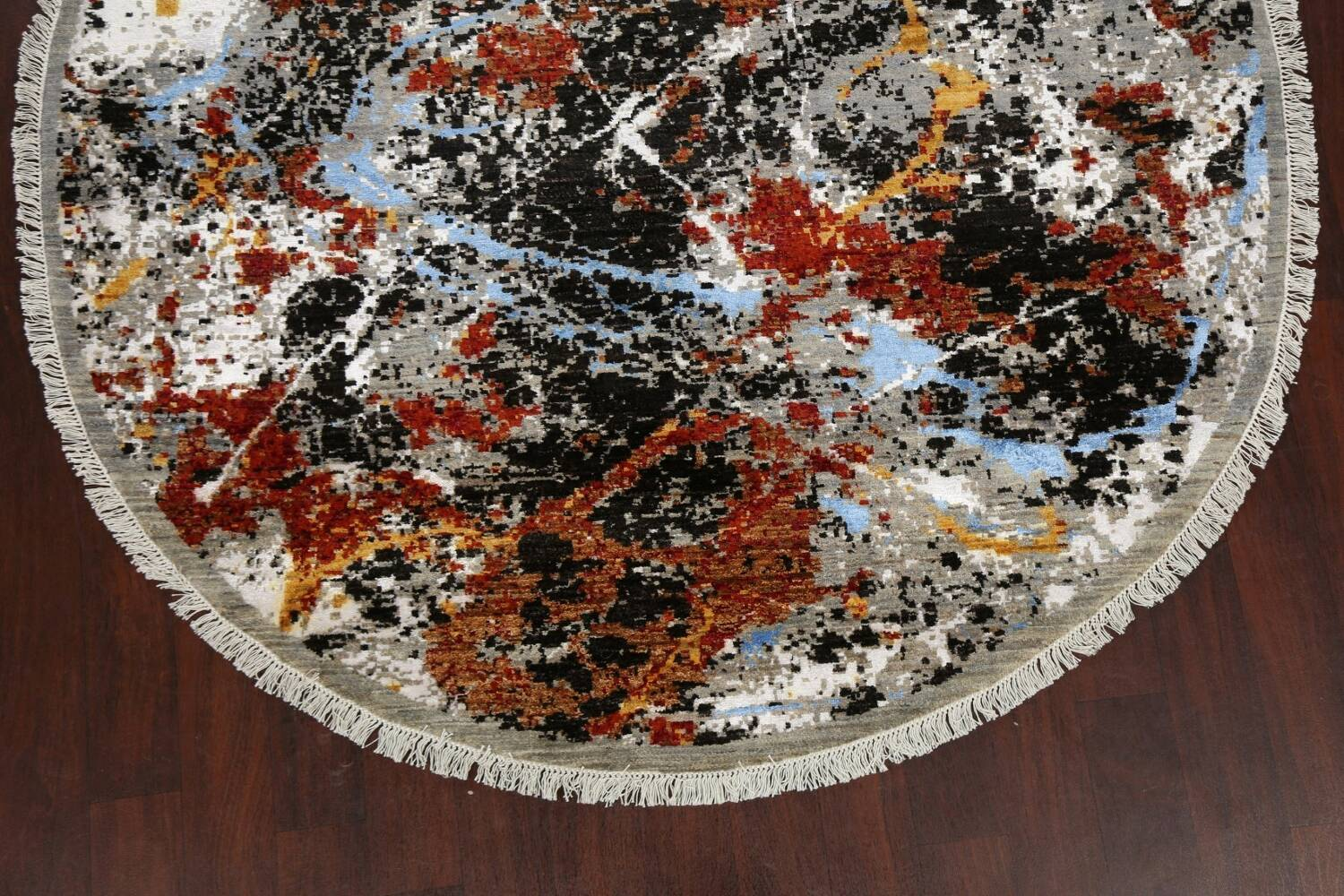 Round Vegetable Dye Abstract Oriental Area Rug 6x6 image 8