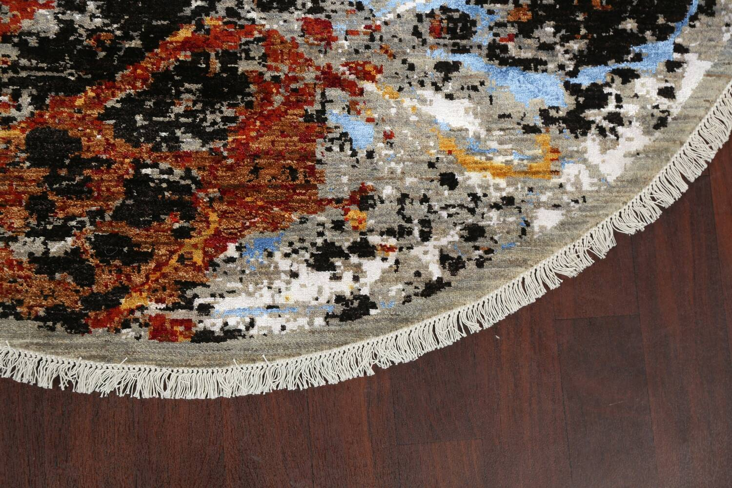 Round Vegetable Dye Abstract Oriental Area Rug 6x6 image 5