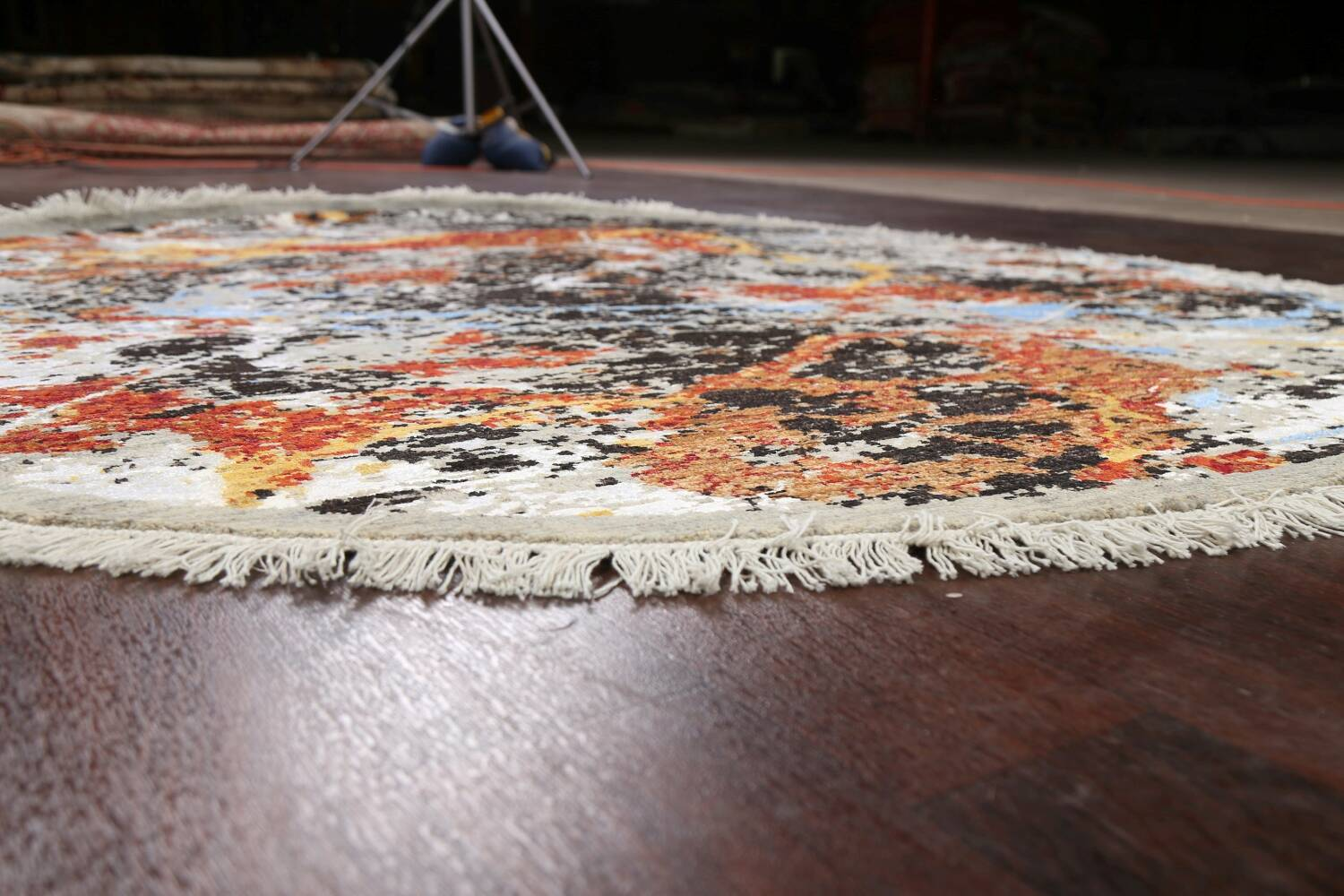 Round Vegetable Dye Abstract Oriental Area Rug 6x6 image 6
