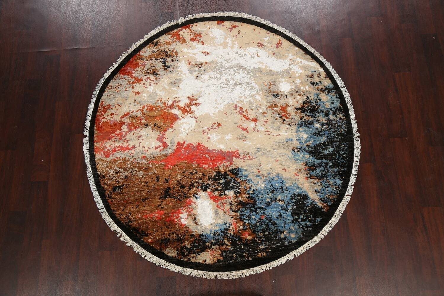 Round Vegetable Dye Abstract Oriental Area Rug 6x6 image 2
