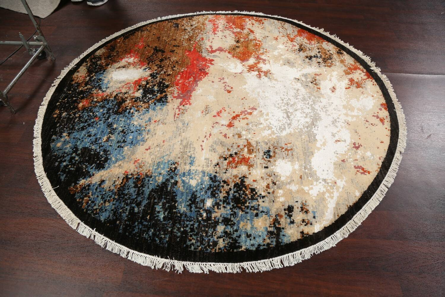 Round Vegetable Dye Abstract Oriental Area Rug 6x6 image 10