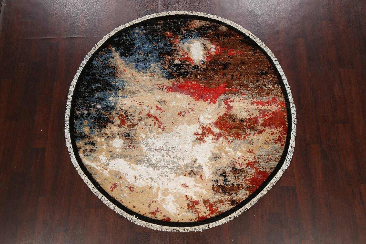 Round Vegetable Dye Abstract Oriental Area Rug 6x6 image 11