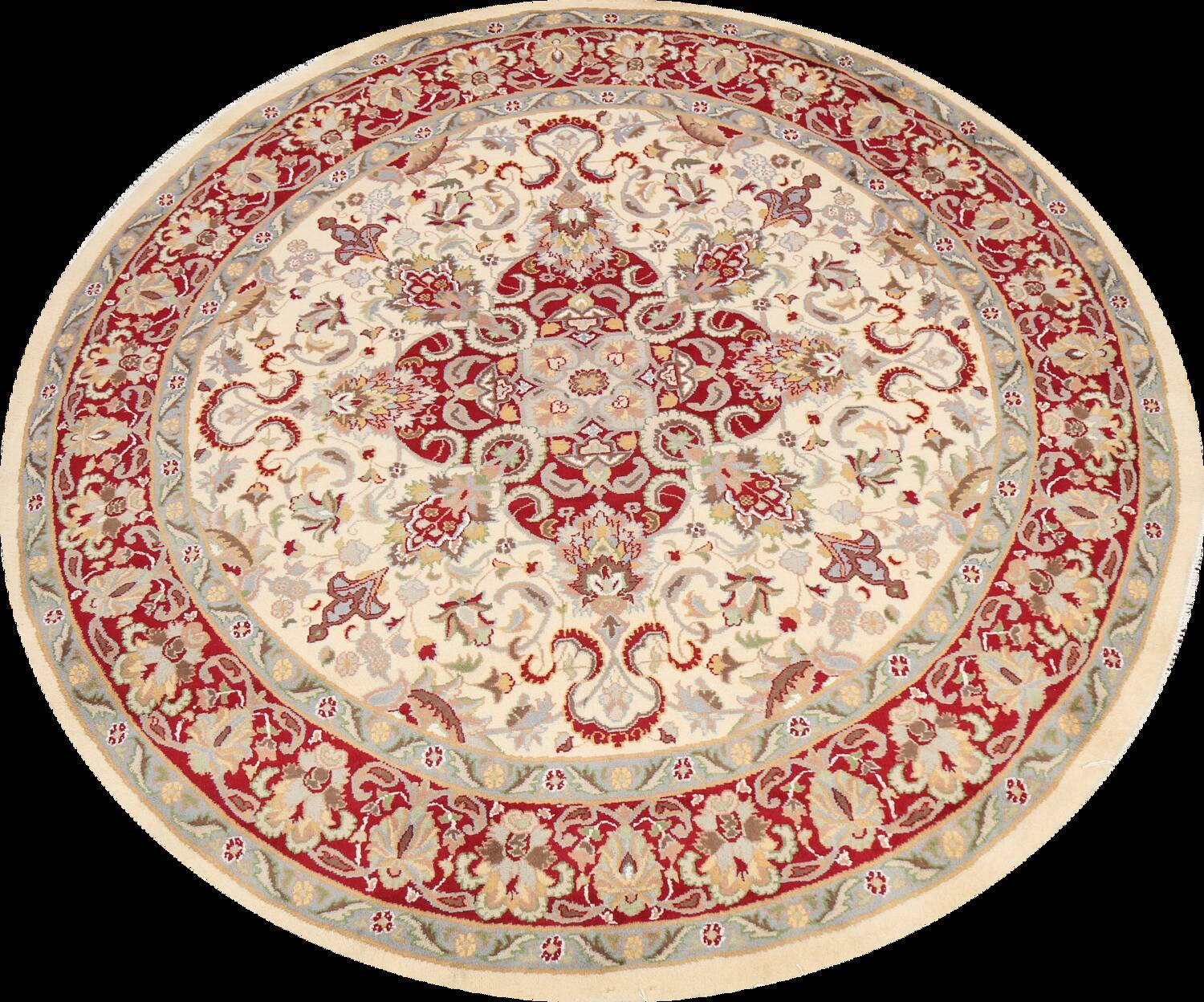 Round Vegetable Dye Royal Tabriz Oriental Area Rug 6x6 image 1