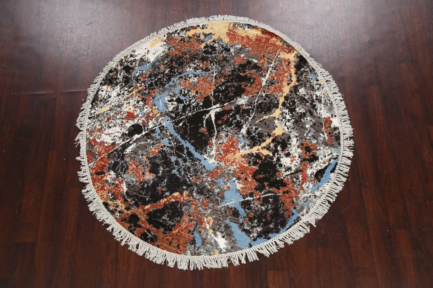 Vegetable Dye Modern Round Abstract Oriental Area Rug 6x6 image 2