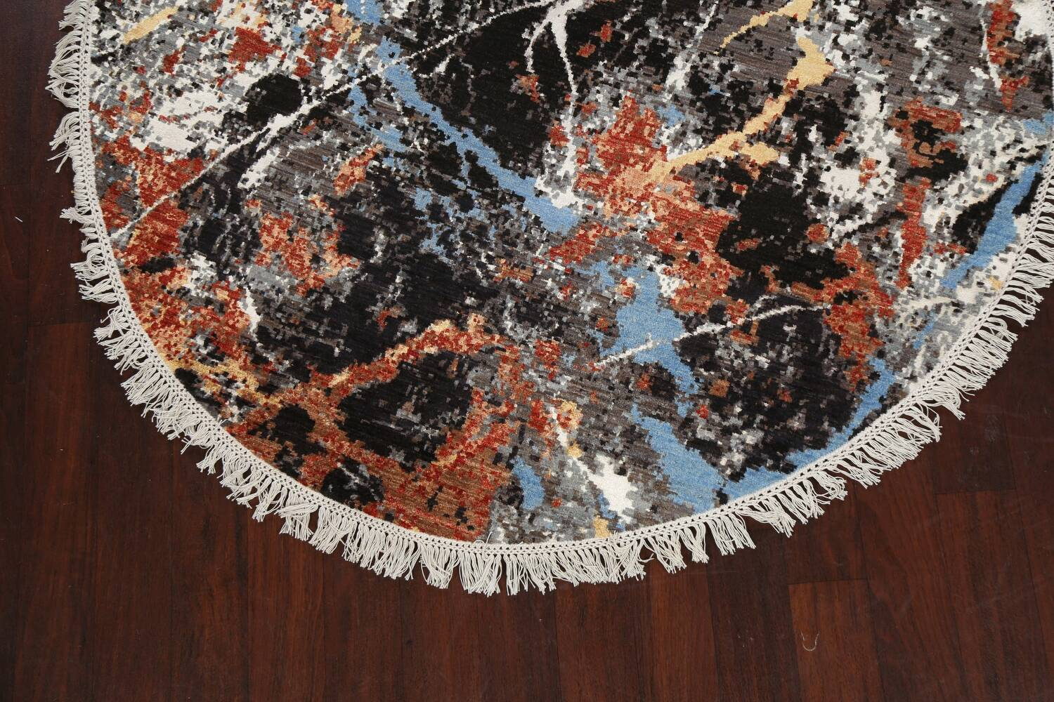 Vegetable Dye Modern Round Abstract Oriental Area Rug 6x6 image 8