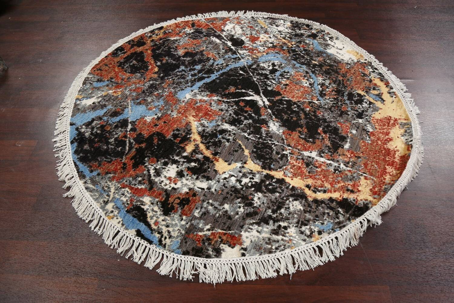 Vegetable Dye Modern Round Abstract Oriental Area Rug 6x6 image 10