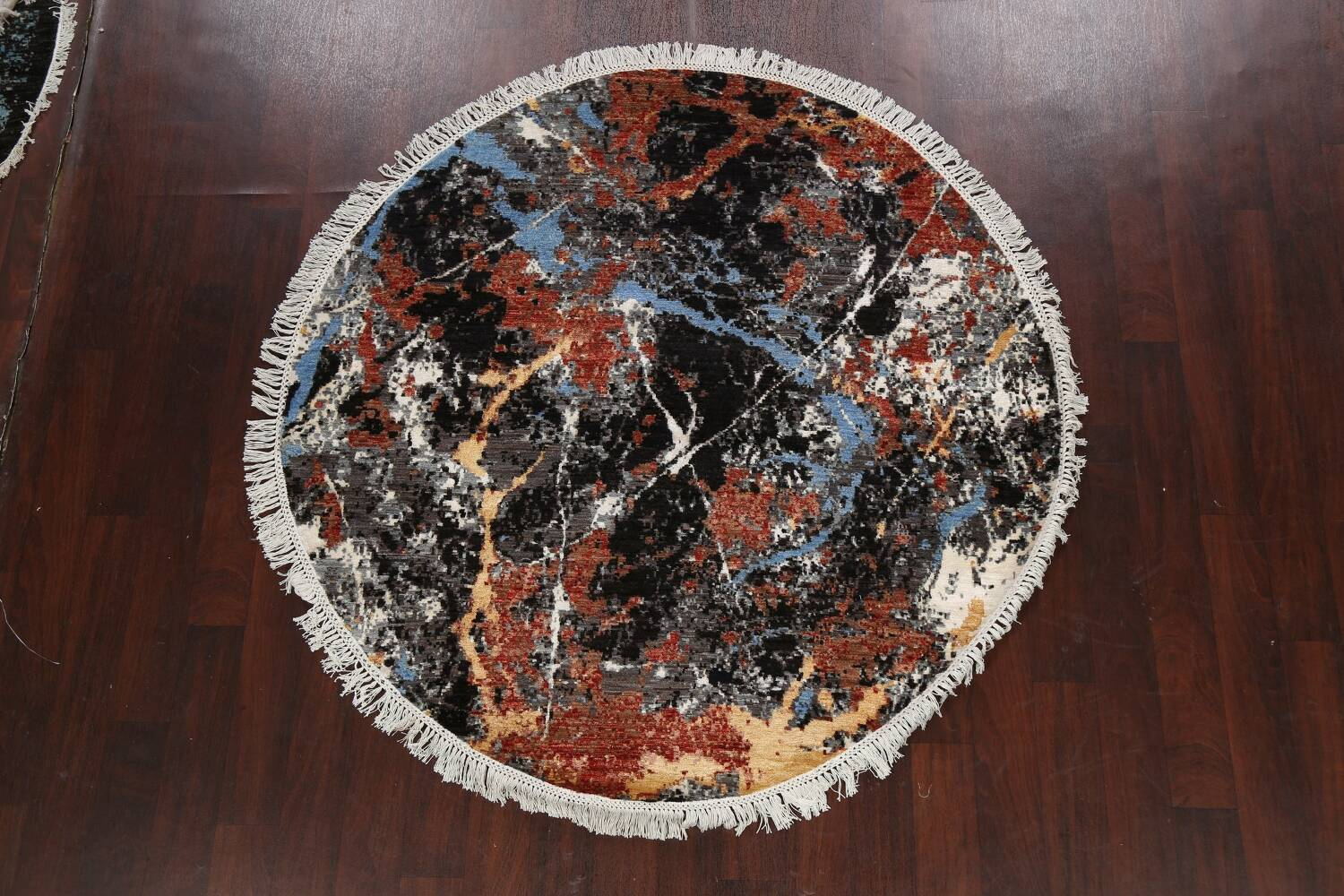 Vegetable Dye Modern Round Abstract Oriental Area Rug 6x6 image 11