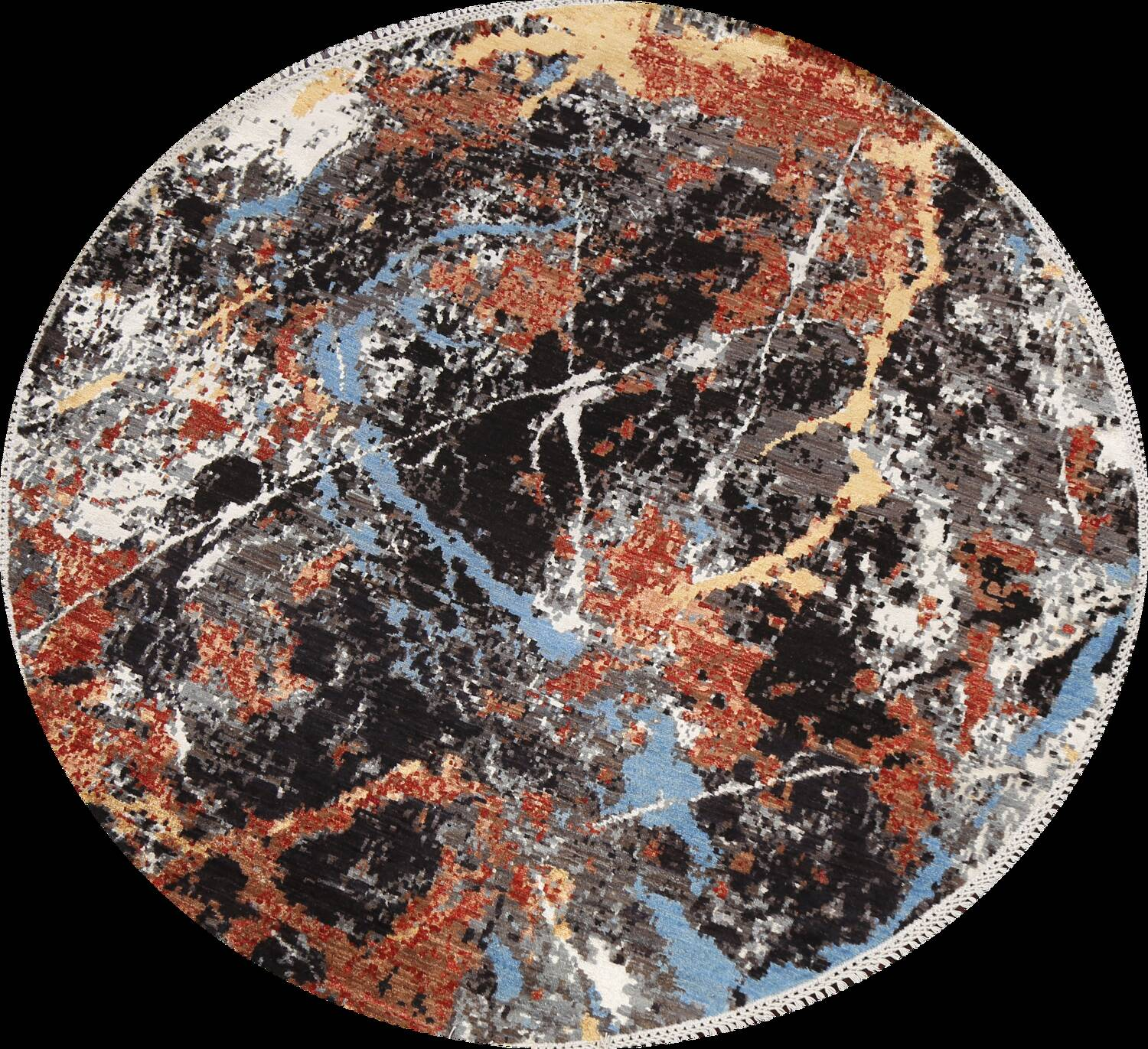Vegetable Dye Modern Round Abstract Oriental Area Rug 6x6 image 1