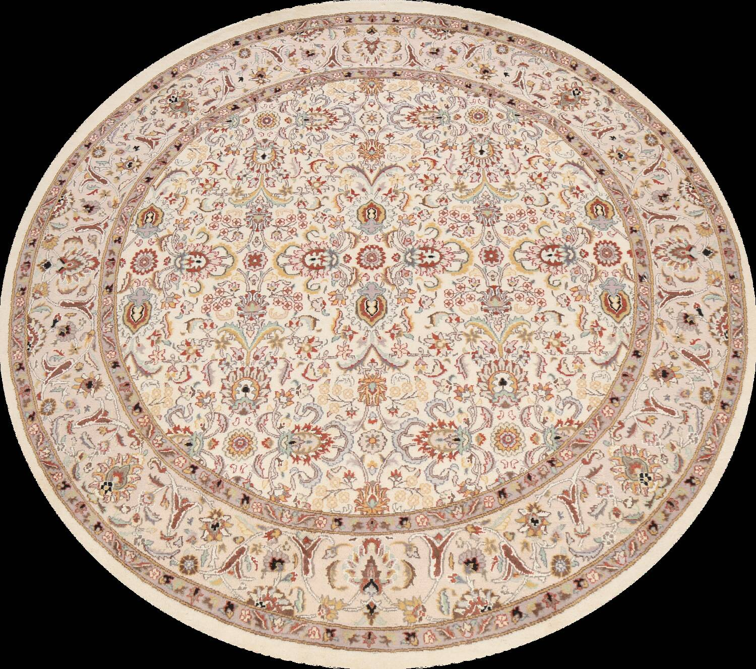 Vegetable Dye Round Royal Tabriz Oriental Area Rug 6x6 image 1