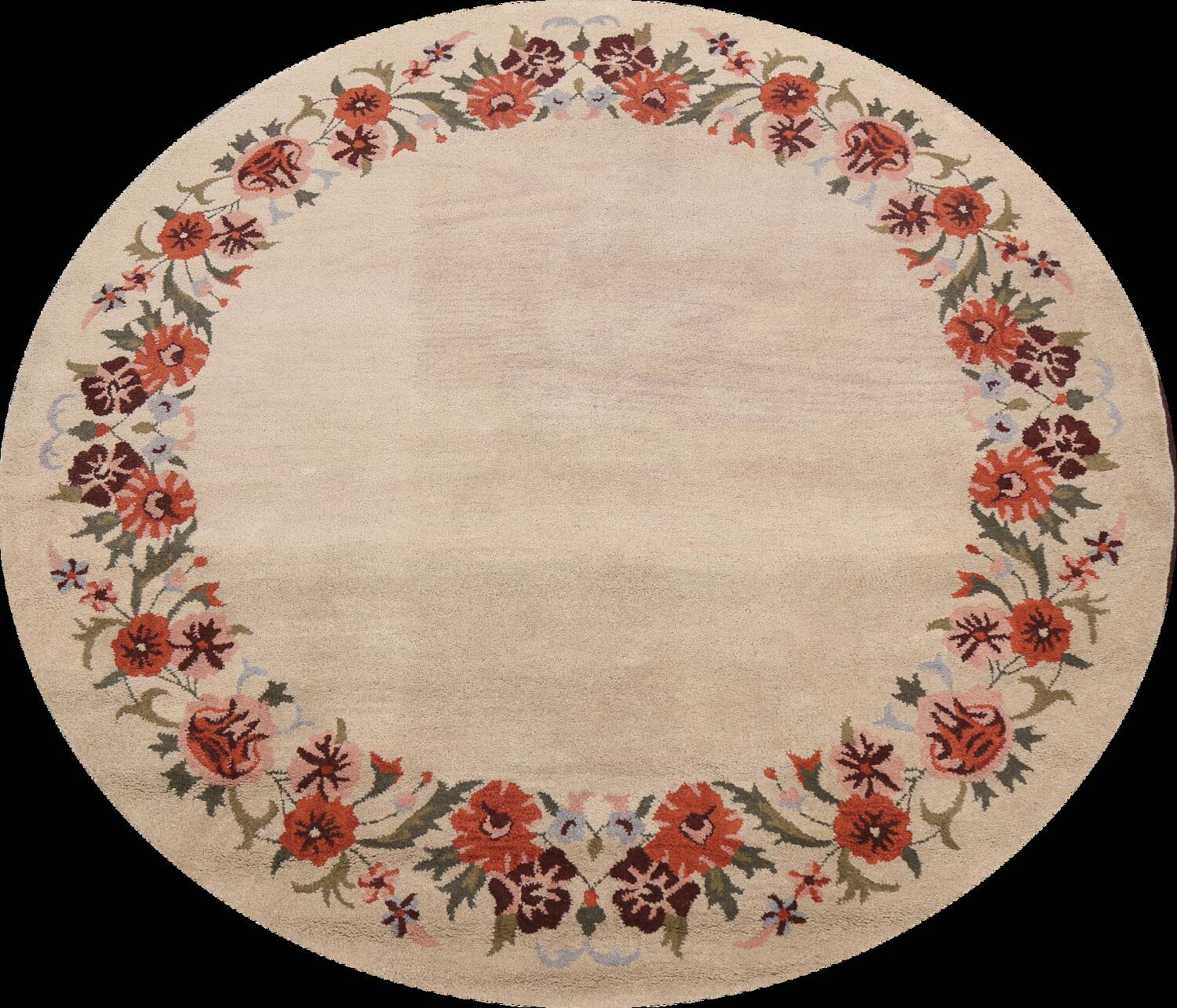 Floral Round Rug 8x8 image 1