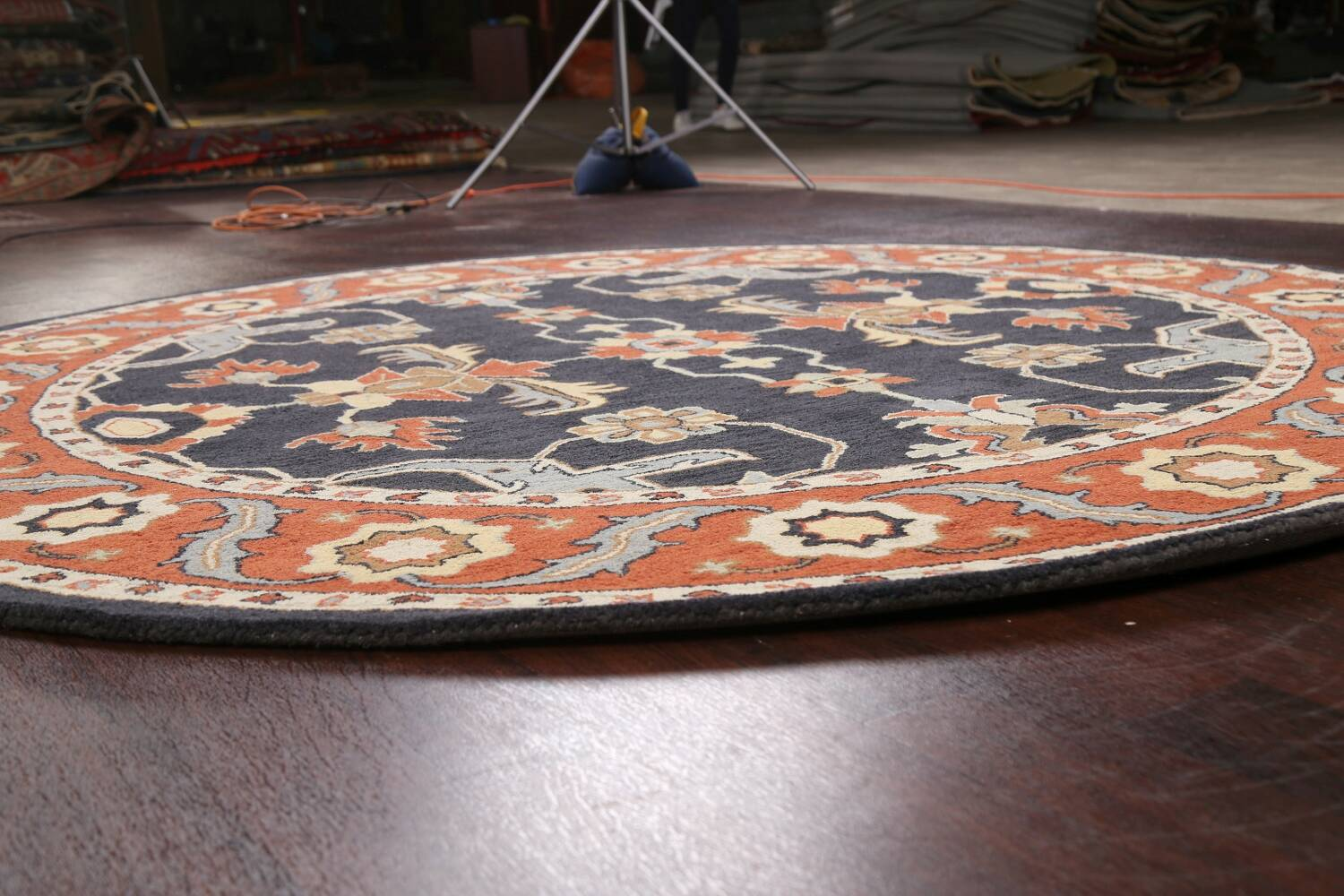 Floral Round Rug 8x8 image 7