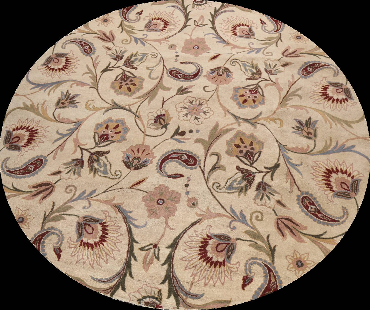 Floral Round Rug 12x12 image 1