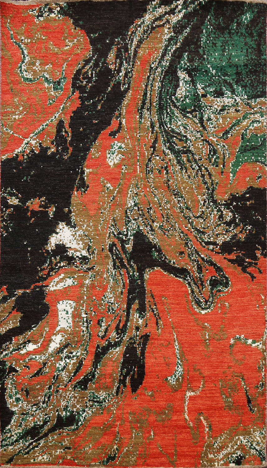 Artistic Modern Abstract Oriental Area Rug 5x8 image 1