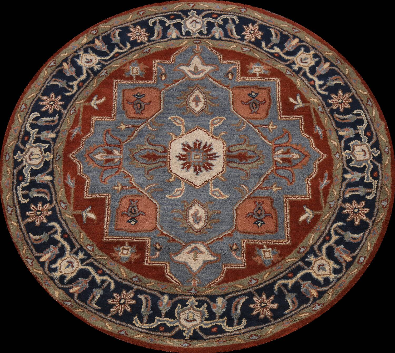 Floral Round Rug 6x6 image 1