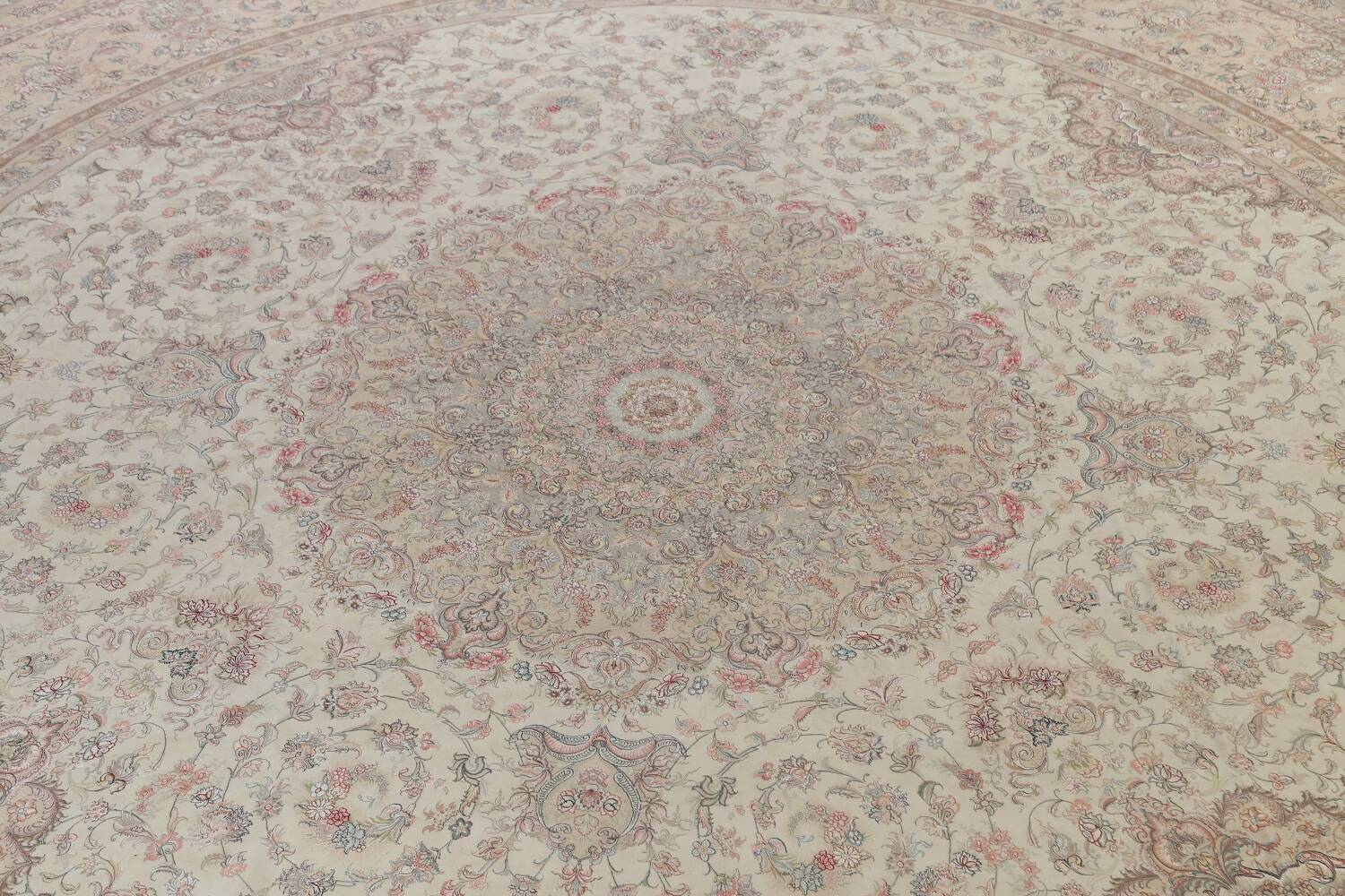 100% Vegetable Dye Floral Tabriz Persian Area Rug 22x23 Round image 4