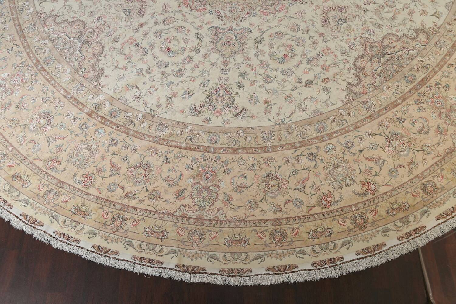 100% Vegetable Dye Floral Tabriz Persian Area Rug 22x23 Round image 5
