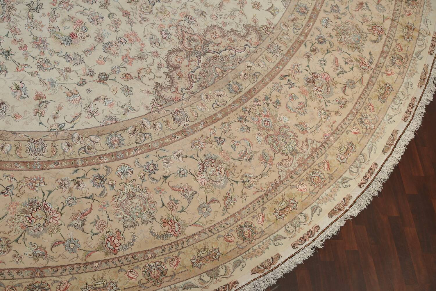 100% Vegetable Dye Floral Tabriz Persian Area Rug 22x23 Round image 6