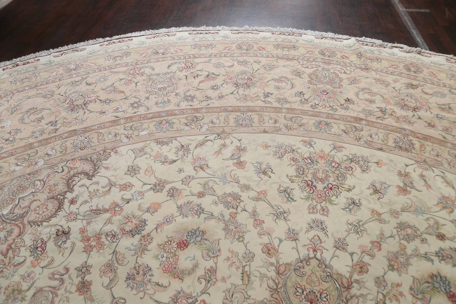 100% Vegetable Dye Floral Tabriz Persian Area Rug 22x23 Round image 12