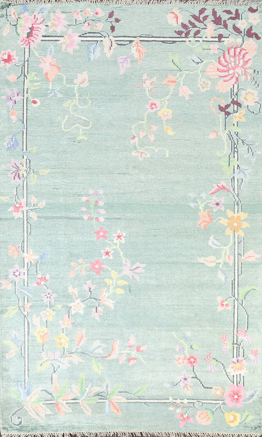 Floral Contemporary Abstract Oriental Area Rug 5x8 image 1