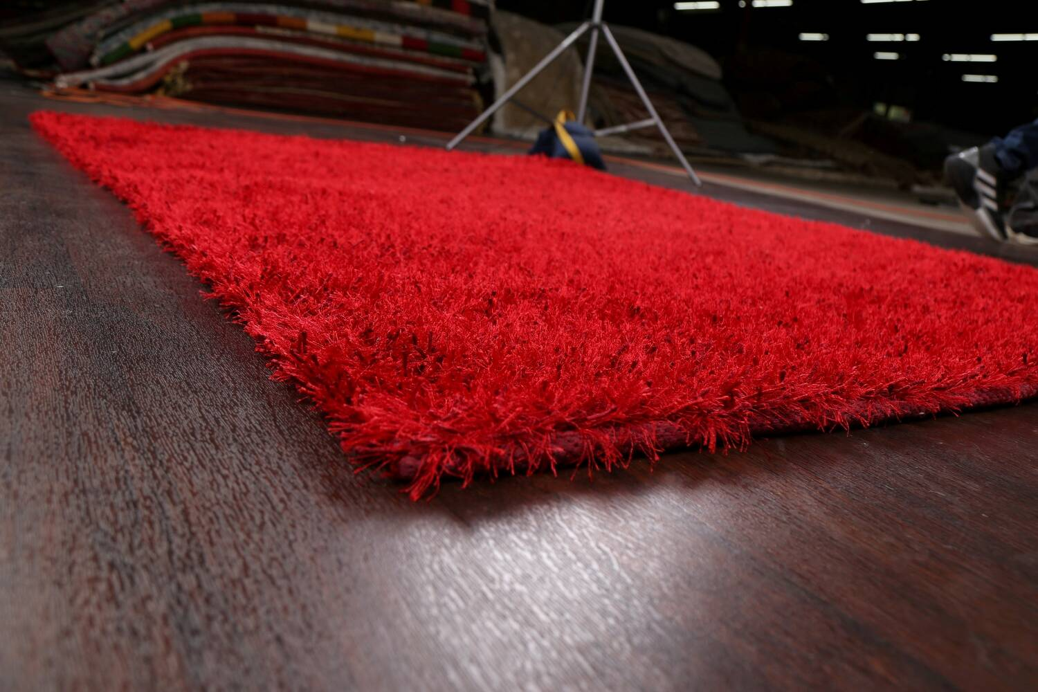 Red Plush Shaggy Area Rug 5x7 image 6