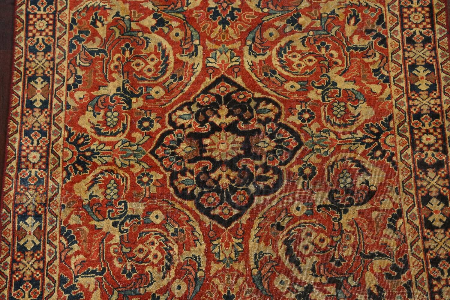 Antique Floral Mahal Persian Area Rug 4x7 image 4