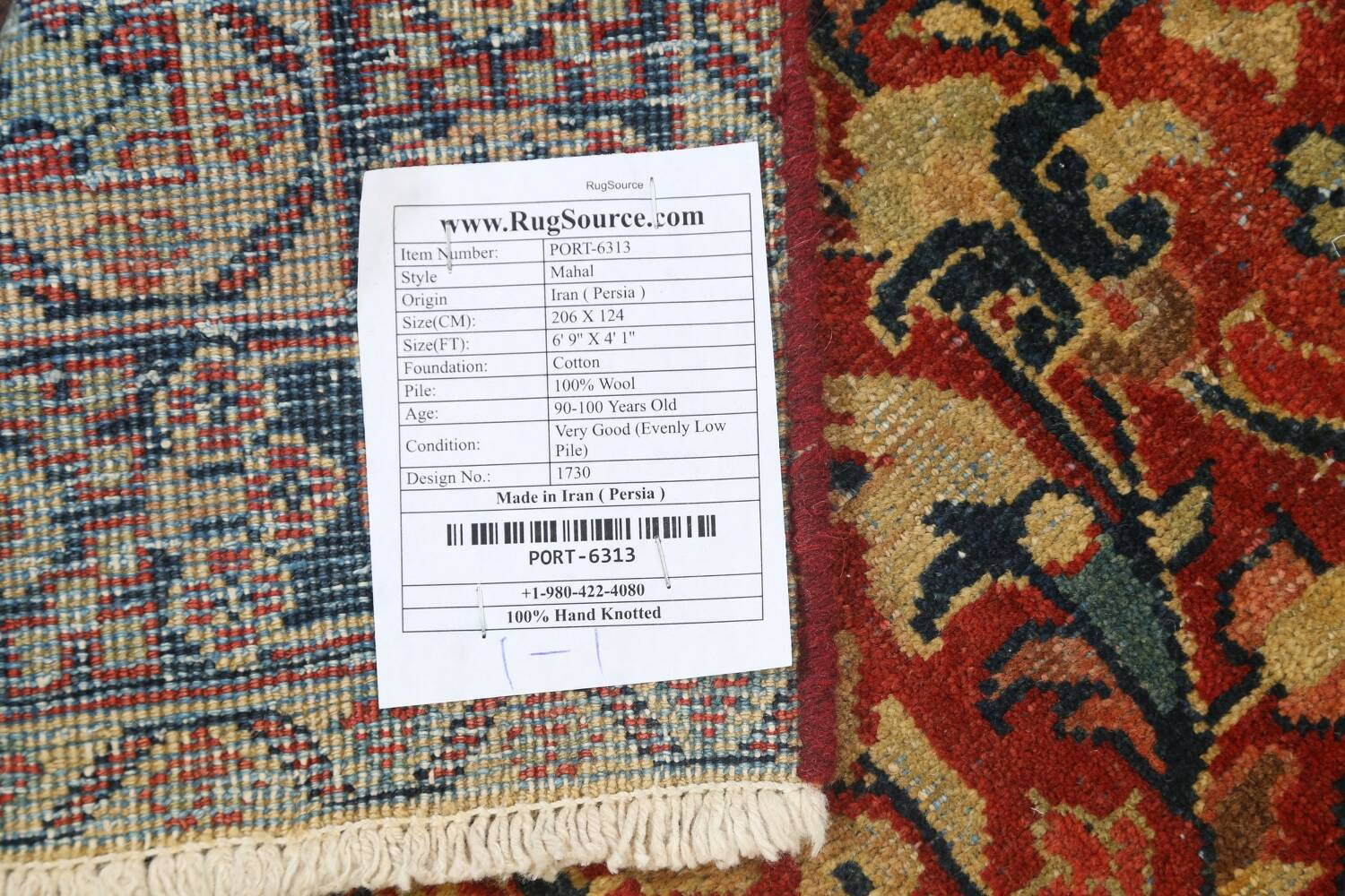 Antique Floral Mahal Persian Area Rug 4x7 image 18