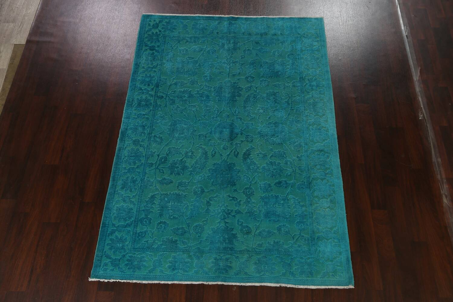 Vegetable Dye Carved Aqua Oushak Chobi Oriental Area Rug 6x9 image 2