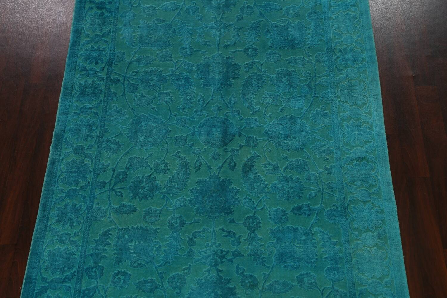 Vegetable Dye Carved Aqua Oushak Chobi Oriental Area Rug 6x9 image 3