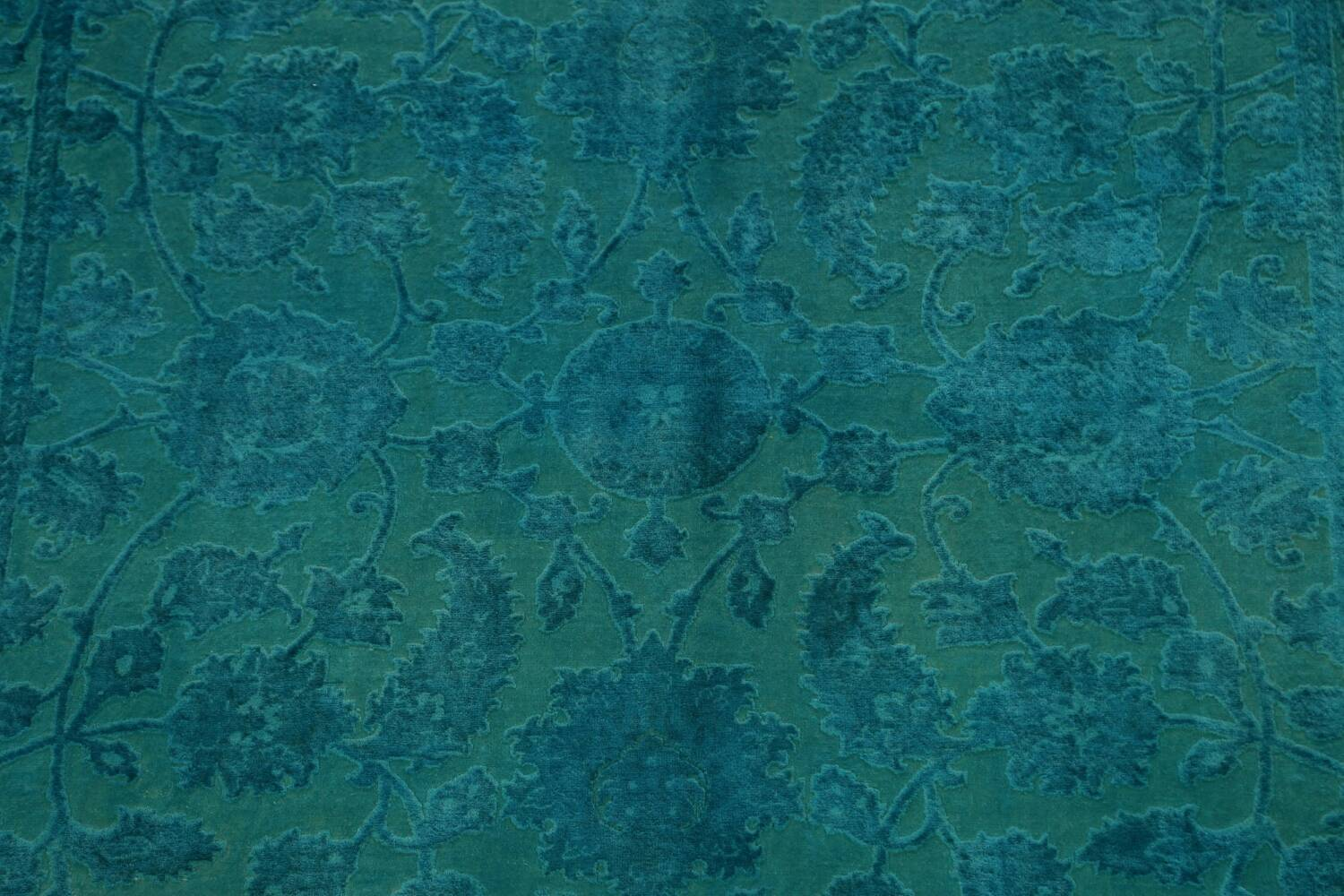 Vegetable Dye Carved Aqua Oushak Chobi Oriental Area Rug 6x9 image 4